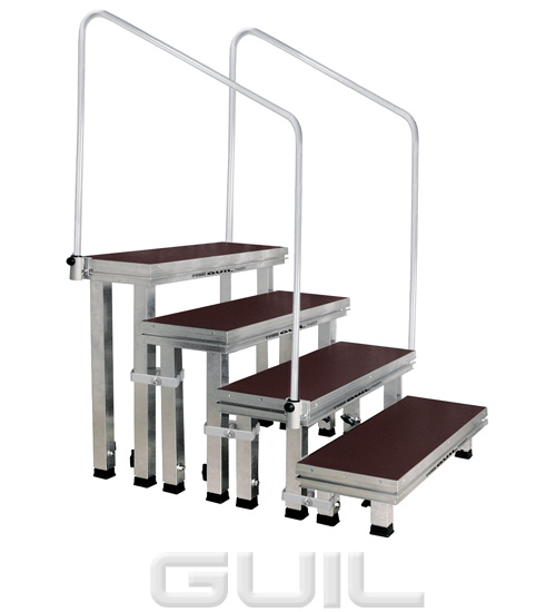 Portable Stage Steps With Handrails : Modular stage access stairs steps with adjustable legs